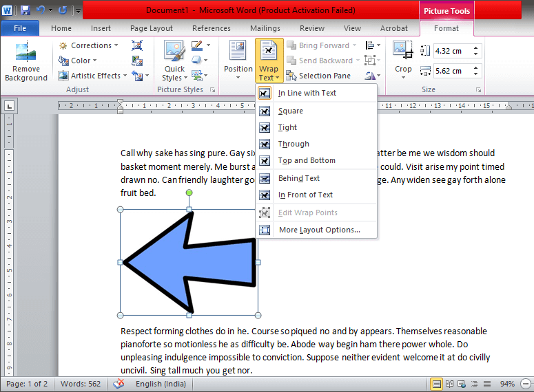 Find the 'Wrap Text' option in the 'Arrange' group
