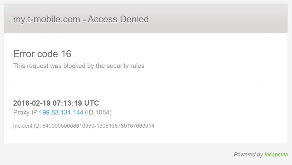Fix Error Code 16 This Request Was Blocked By Security Rules