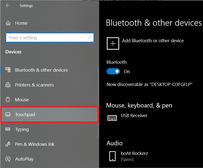 From the left-panel where all the devices are listed, click on Touchpad