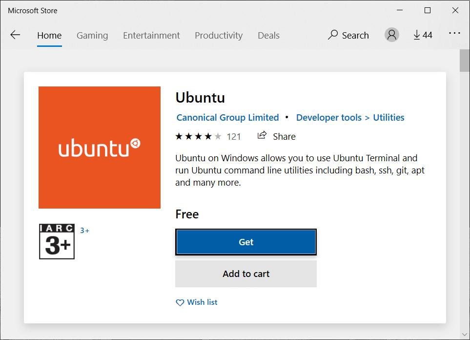 Get Ubuntu in Microsoft Store