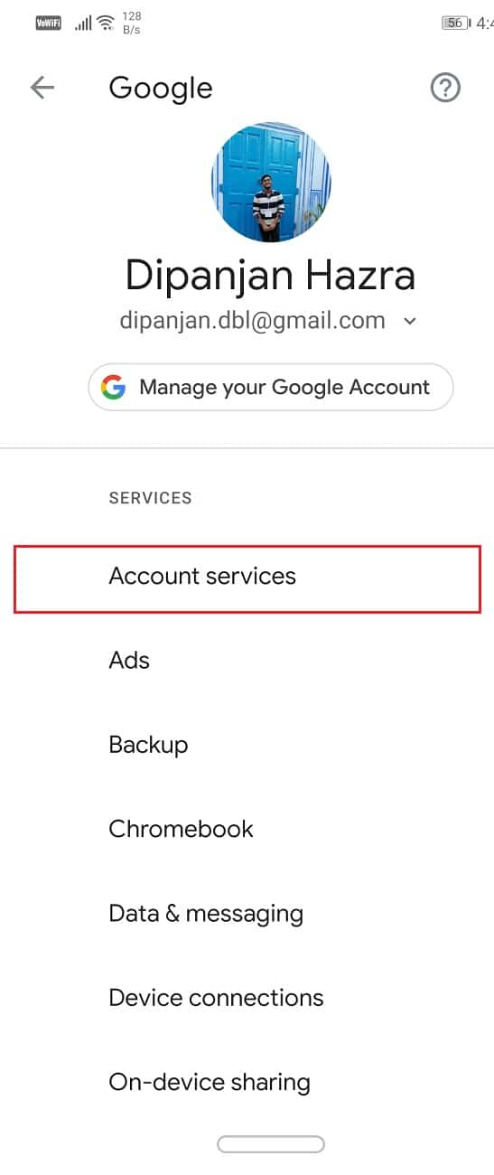 Go to Account services