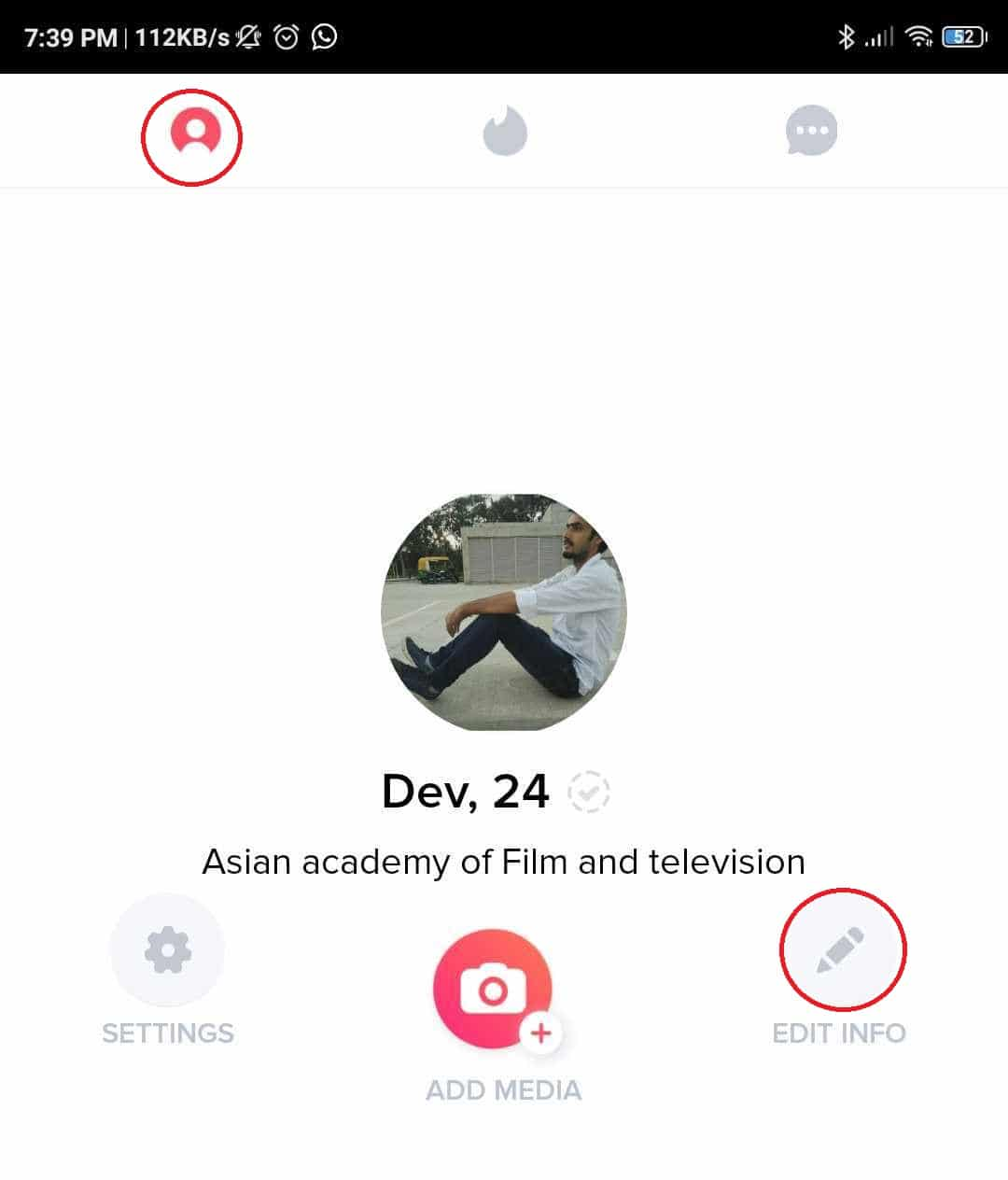 Go to profile icon and tap on edit info option | Change Your Name Or Gender On Tinder