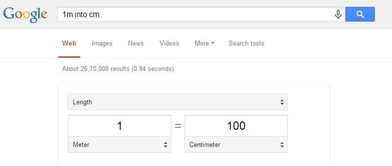 Google will help you in converting units