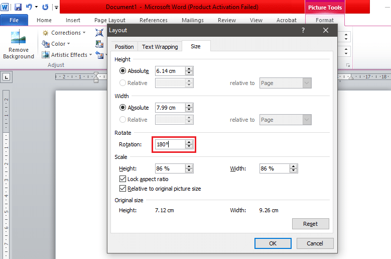 In the 'Size' section, find the option called 'Rotation'