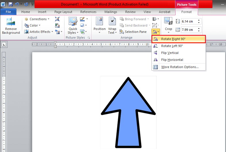 In the drop-down menu, you will find the option to rotate the image by 90°
