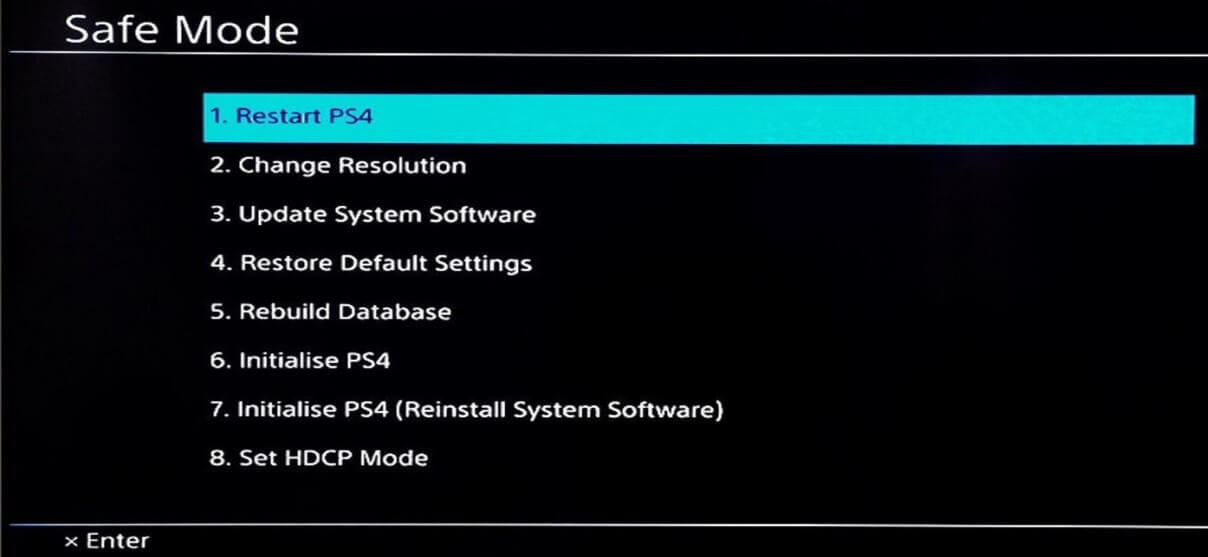 In the safe mode, you will see a screen with 8 options   Fix PS4 (PlayStation 4) Freezing And Lagging