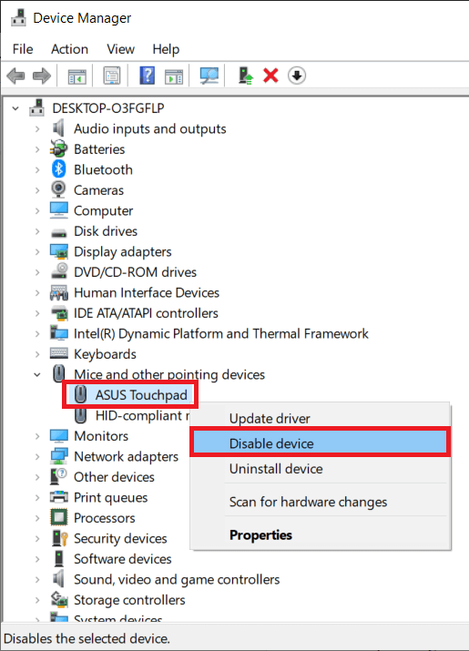 In touchpad under the Mice right-click on it and select Disable Device