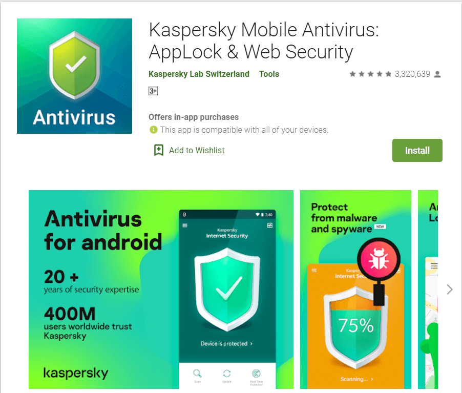 Kaspersky Mobile Antivirus | Best Adware Removal Apps