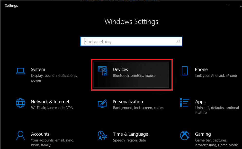 Click on Devices | How to Set up & Use Miracast on Windows 10?