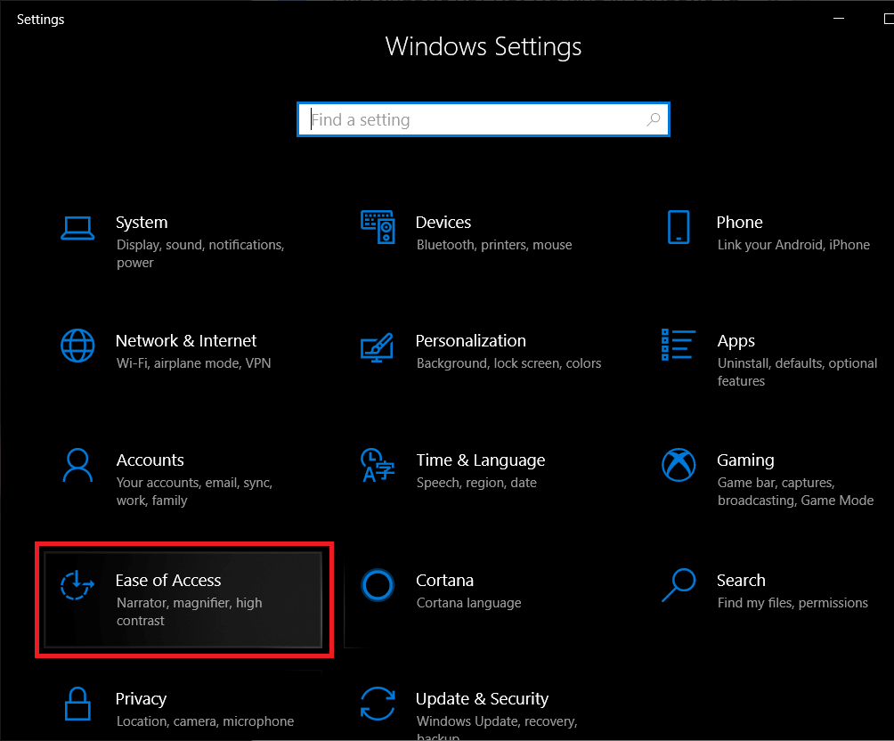 Locate and click on Ease of Access | Enable or Disable Color Filters in Windows 10