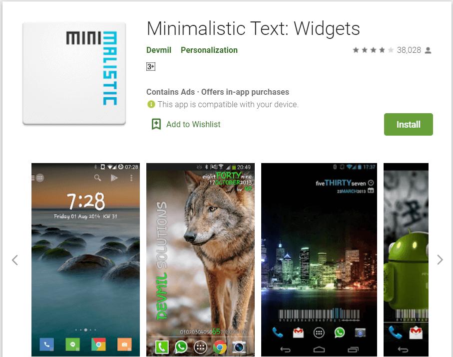 Minimalistic Text | Best Android Widgets