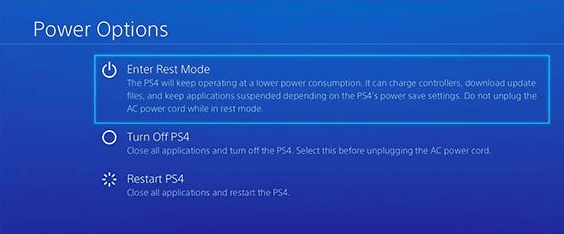 On PS4 controller, press and hold the power button and screen will appear
