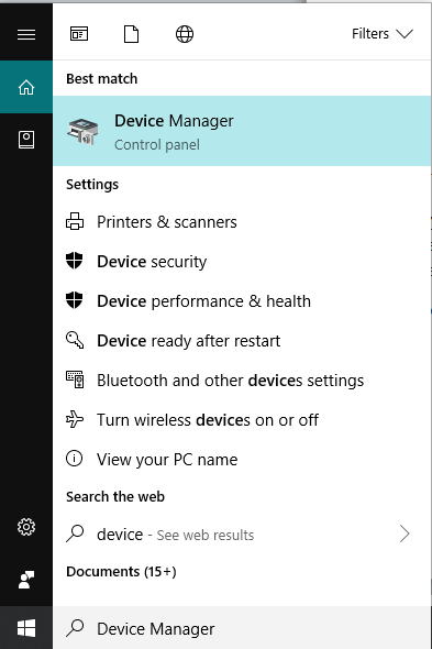 Search for Device Manager in Windows Search then click on the top search result.