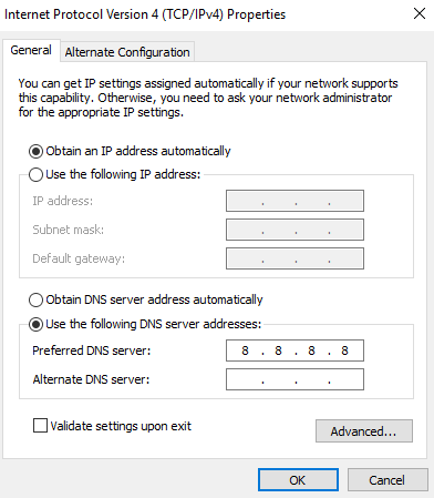 Replace the DNS IP address with Google Public DNS