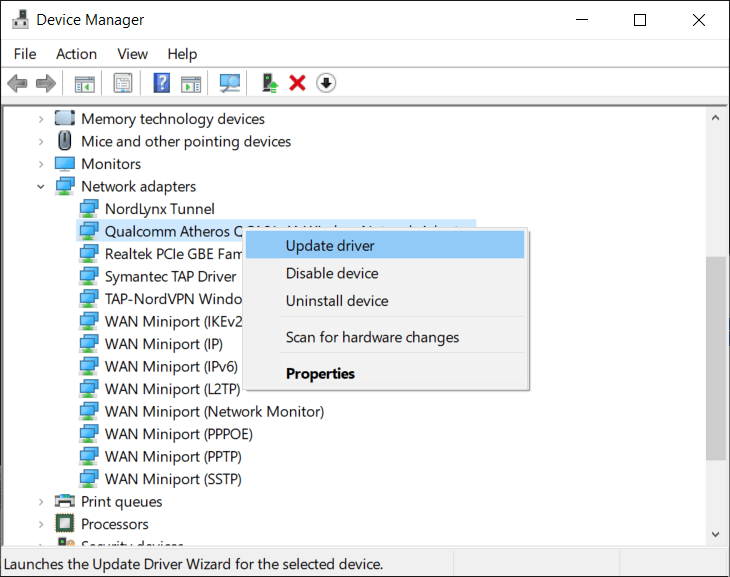 Right-click on your Wi-Fi device(for example Intel) and select Update Drivers.