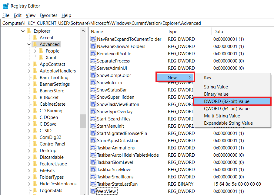 Right panel and select New DWORD (32-bit) Value