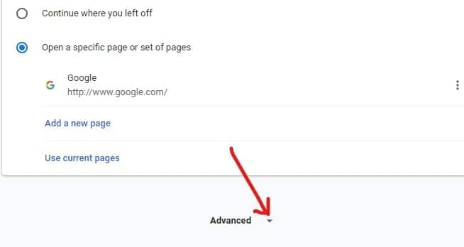 Scroll down and you will find the Advanced Click on it