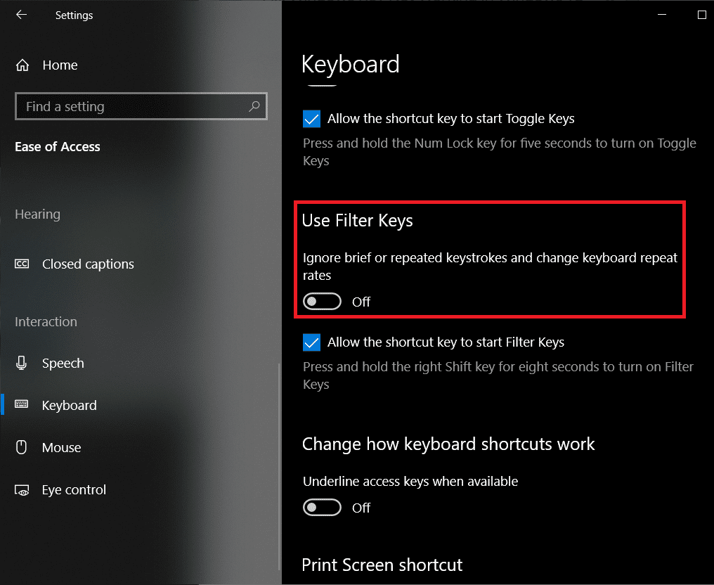 Scroll down the right pane, find Use Filter Keys and toggle it off