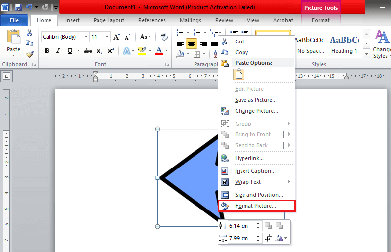 Select 'Format Picture' located at the bottom
