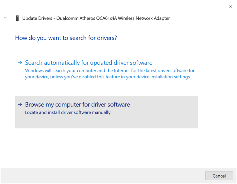 """Next, select """"Browse my computer for driver software."""""""