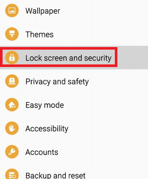 Select Lock screen and security