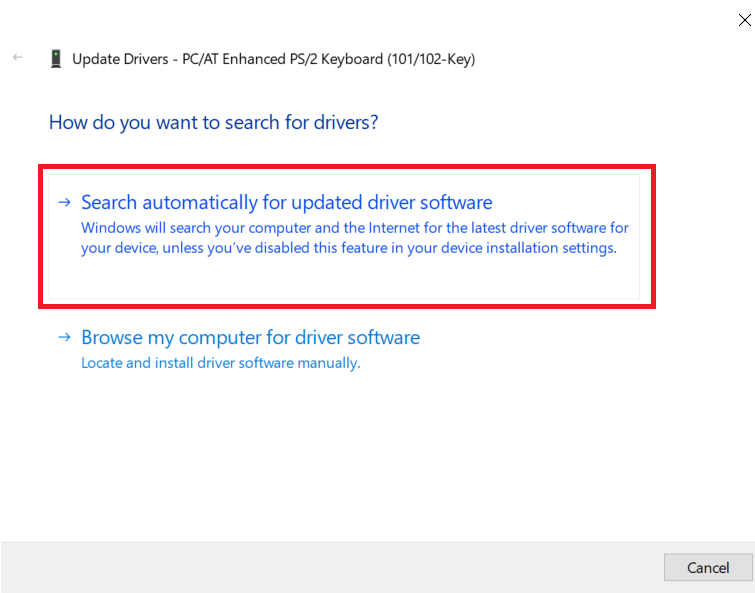 Select Search automatically for updated driver software