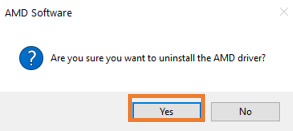 Select Yes to proceed with the uninstalling process.