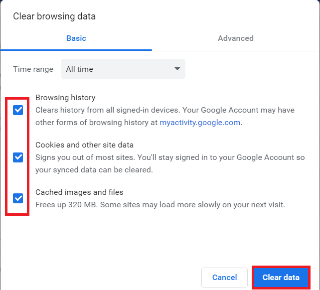 Select all the cookies and caches from the list and finally clear all the browsing data