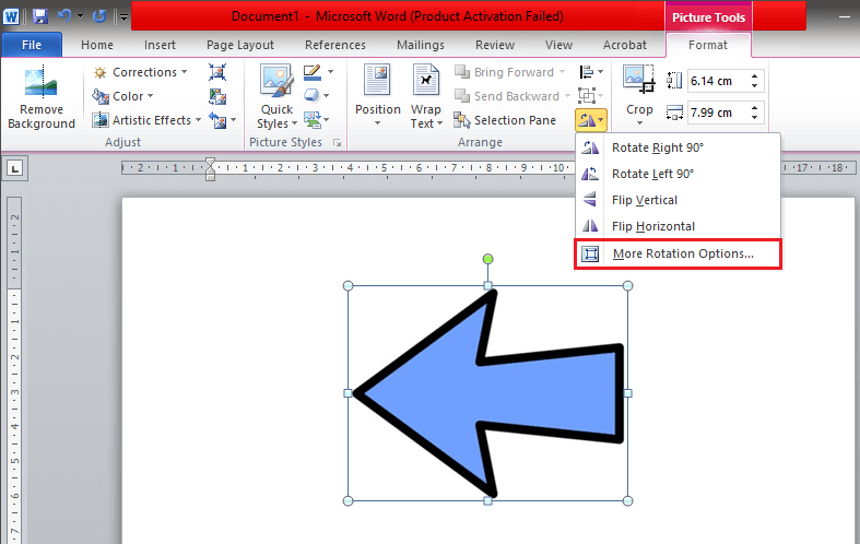 Select the 'More Rotation Options' in the Rotate and Flip menu
