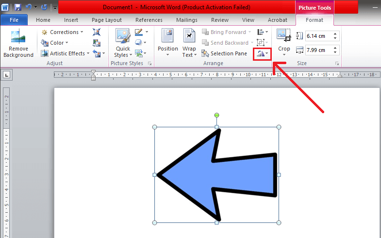 Select the 'Rotate and Flip' symbol found under the 'Arrange' section