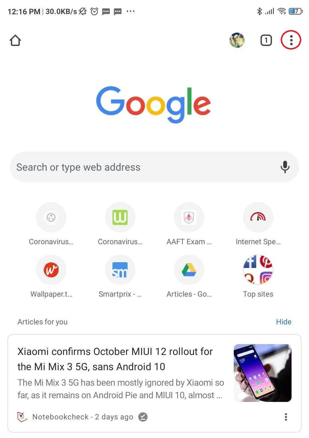 Tap on the three dots you see on the upper right corner of your screen | Media Could Not Be Loaded Error In Chrome