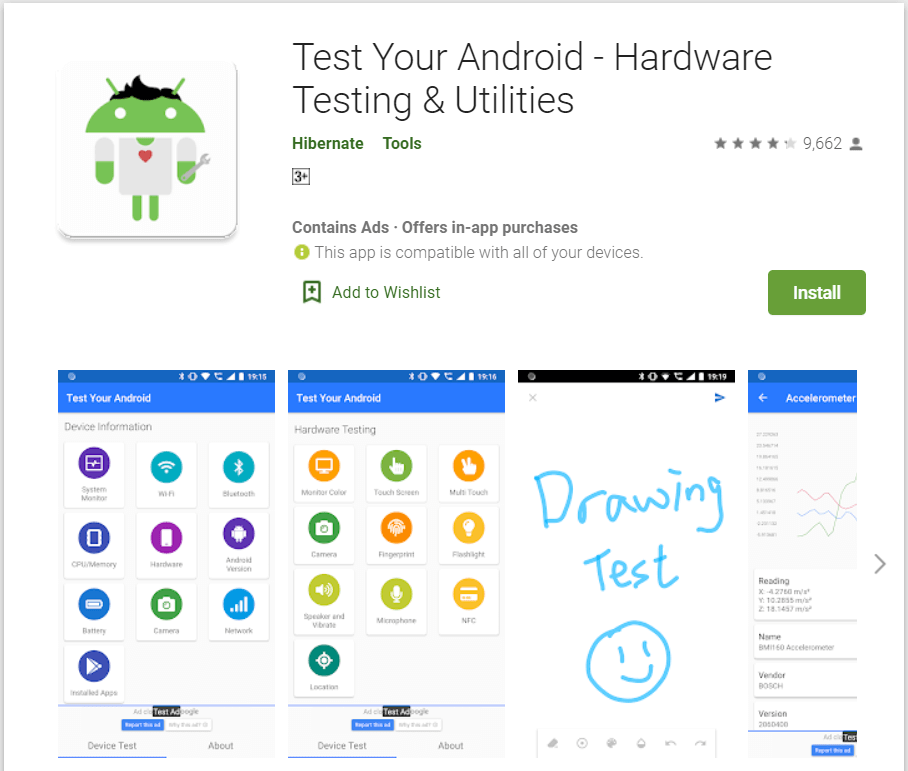 Test Your Android | apps to check the hardware of your Android Phone