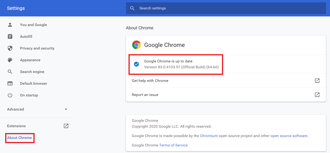 Then click on update if the Update is Available. | Media Could Not Be Loaded Error In Chrome