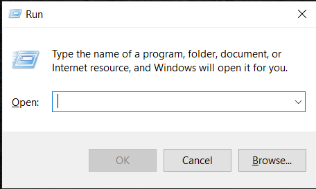 To open the run prompt, press Windows and R keys together.