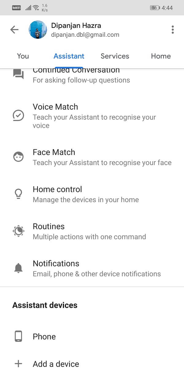 Toggle off the Google Assistant setting