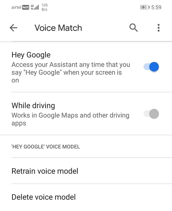 Toggle ON the switch next to Hey Google option