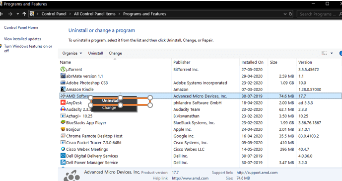 Try uninstalling the old AMD Graphic Drivers. Right Click on AMD Software and choose Uninstall