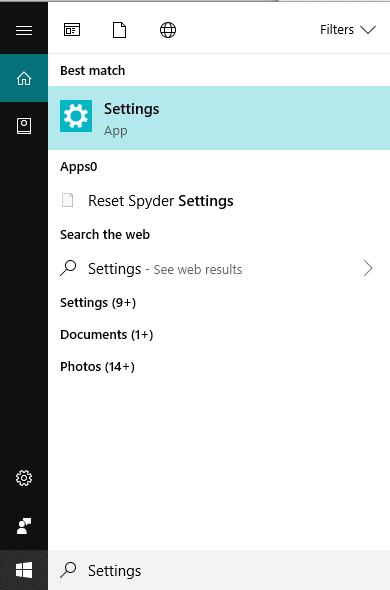 Type Settings in the Windows search b