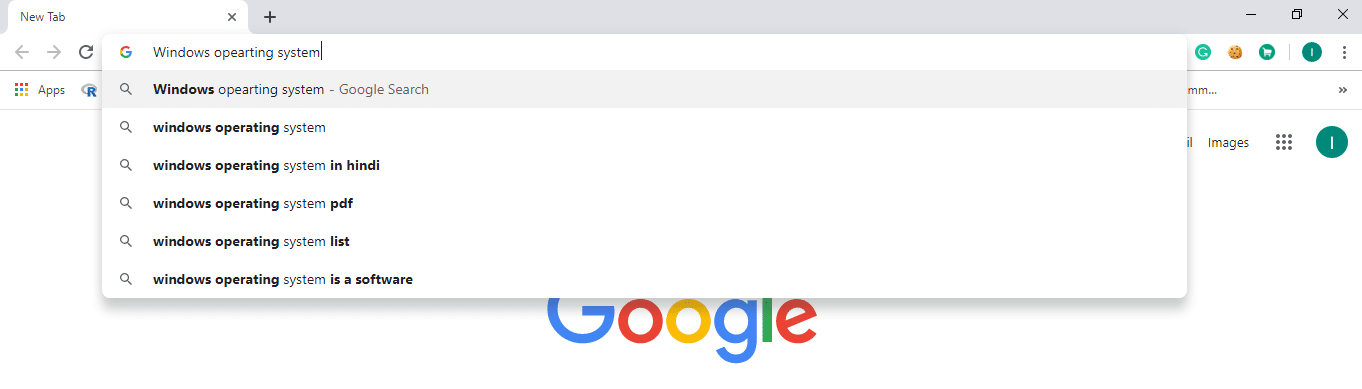 Type anything in the search bar and press enter