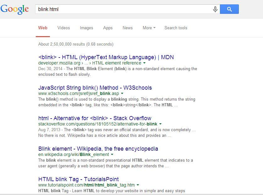 Type blink Html on Google and look at what happens