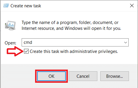 Type cmd and press ctrl + shift + enter to launch Command Prompt with administrative privileges