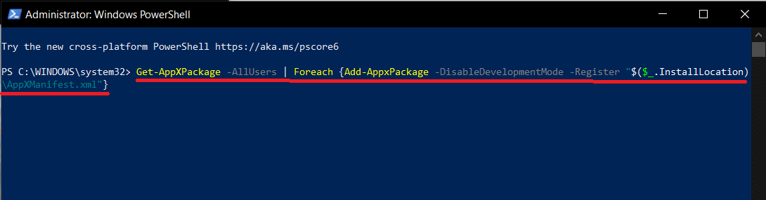 Type the command line carefully or simply copy-paste into the PowerShell window