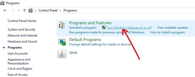 Under the Programs and Features, click on Turn Windows features on or of