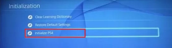 Under the initialization, click on Initialize PS4   Fix PS4 (PlayStation 4) Freezing And Lagging