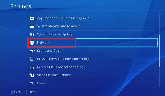 Under the settings, click on Network