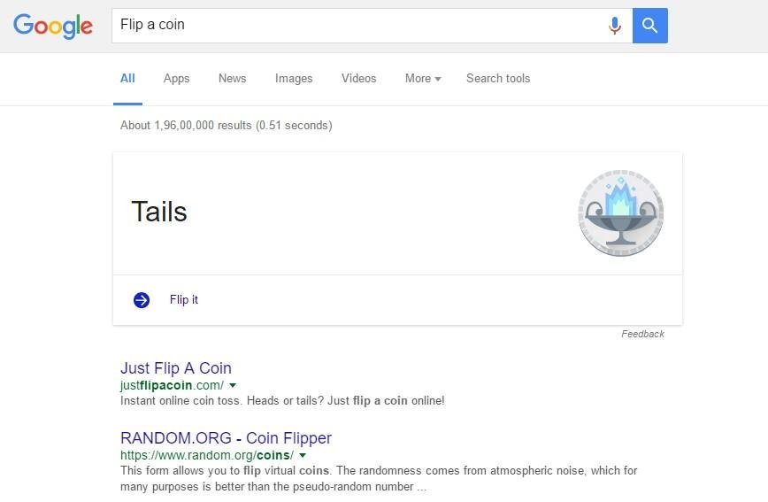 Using Google, you can even flip a coin to make fair decisions