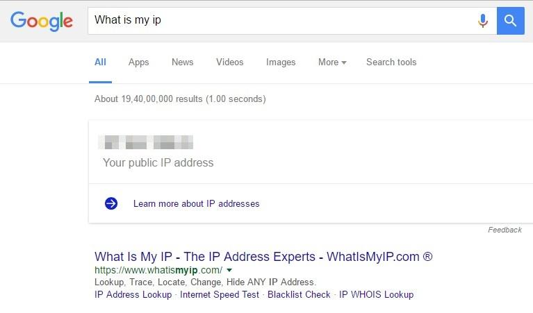 Using Google, you can find out the IP Address of your computer