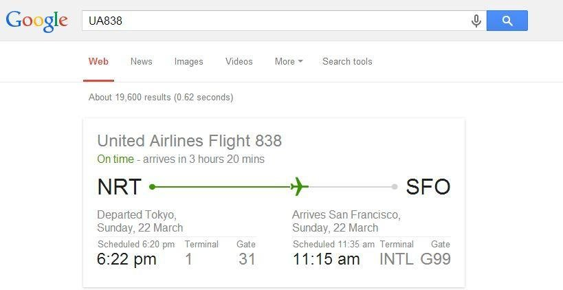 Using Google, you can view the flight status