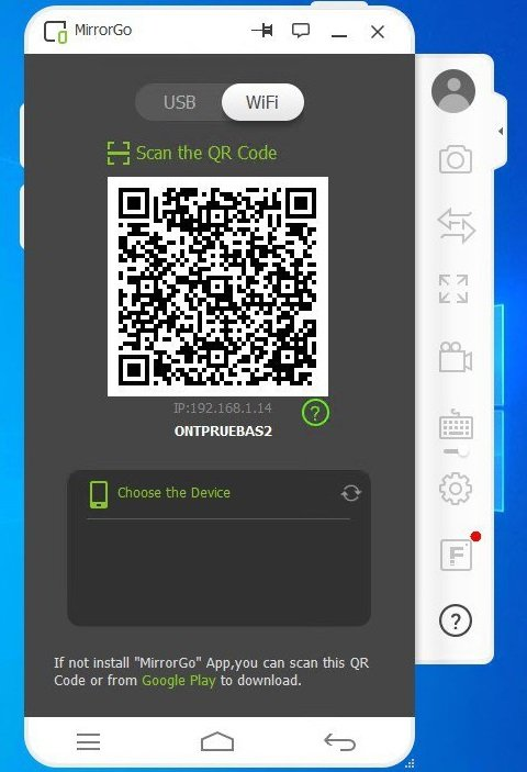 Using MirrorGo Android App