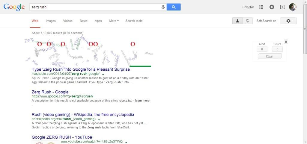 When you search for a zerg rush on Google